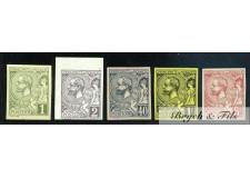1891-94 Monaco Poste N°11a-12a-17a-20b-21b Non Dentelé Albert Ier