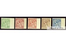 1901 Monaco Poste N°22a-23b-23c-24a-25a Non Dentelé Albert Ier