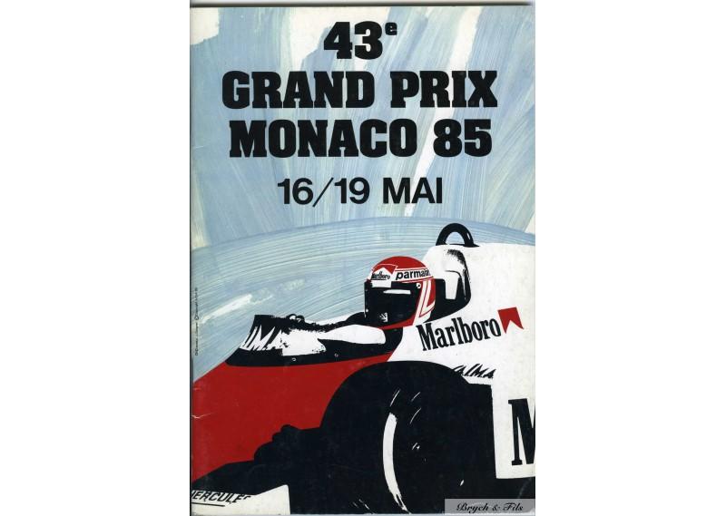 Programme Grand Prix Monaco 1985 with Pass