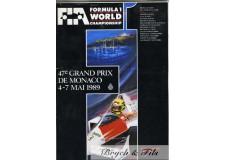 Programme Grand Prix Monaco 1989 (avec Pass)