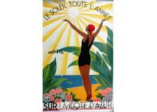 """Affiche originale """"Côte d'Azur le soleil toute l'année"""""""