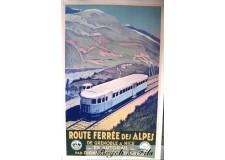 """Affiche originale """"Route férrée des Alpes"""""""