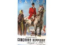 "Affiche originale ""Davos concours hippique 1956"""