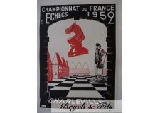 """Affiche originale""""Championnat d'echecs de France 1952 Charleville"""