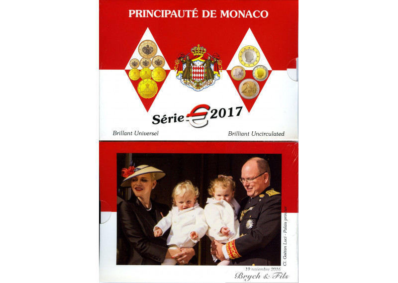 2017 MONACO BU OFFICIEL 8 PIECES DU 2 EUROS au 1 CT COFFRET SOUS BLISTER