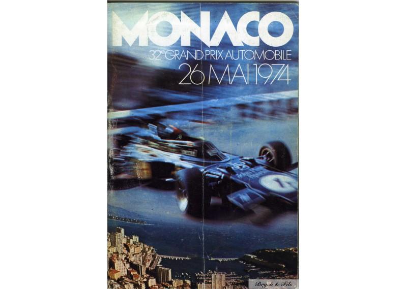 Programme Grand Prix Monaco 1974 with Pass