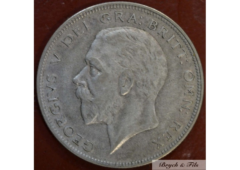 1931 ROYAUME UNI GEORGE V 1/2 CROWN ARGENT QUALITE TTB
