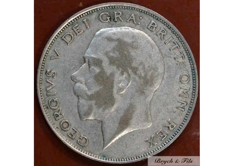 1924 ROYAUME UNI GEORGE V 1/2 CROWN ARGENT QUALITE TB