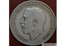 1920 ROYAUME UNI GEORGE V 1/2 CROWN ARGENT QUALITE TB