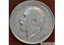 1915 ROYAUME UNI GEORGE V 1/2 CROWN ARGENT QUALITE B/TB