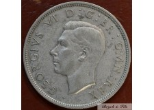 1937 ROYAUME UNI GEORGE VI 1/2 CROWN ARGENT QUALITE TTB