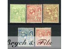 1901-14 MONACO N°22/26 TIMBRE POSTE PRINCE ALBERT Ierxx