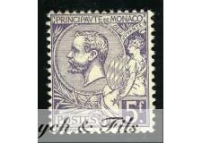 1920-21 MONACO N°46 TIMBRE POSTE PRINCE ALBERT Ier x