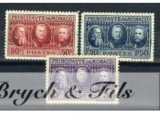 1928 MONACO N°111/13 TIMBRES POSTE EXPO PHILATHELIQUE x