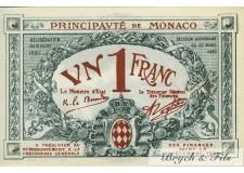 Billet Monaco 1 fr bleu série A 1920 Sans Numero