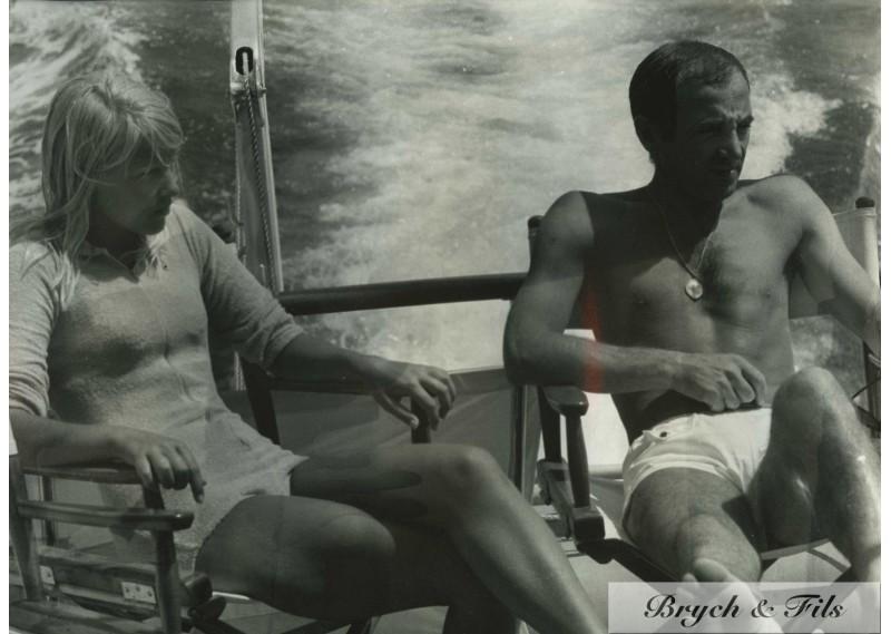 CHARLES AZNAVOUR ET ULLA PHOTO ARGENTIQUE TIRAGE ORIGINAL PAR PATRICK BERTRAND