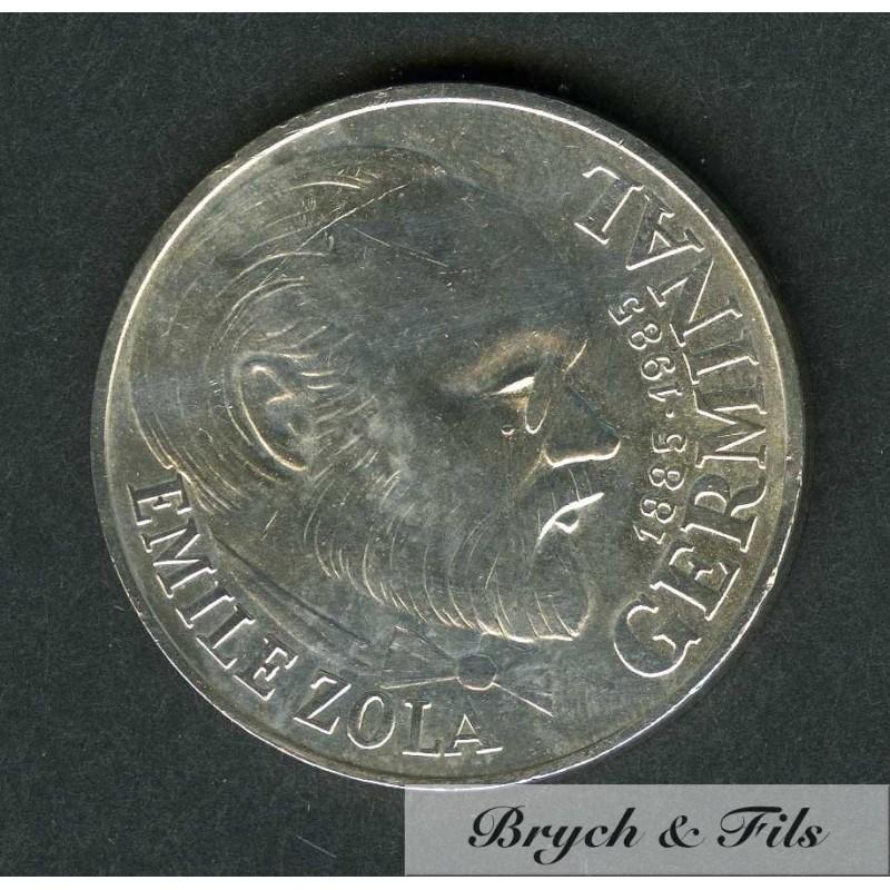 1985 piece 100 francs zola en argent monaco timbres. Black Bedroom Furniture Sets. Home Design Ideas