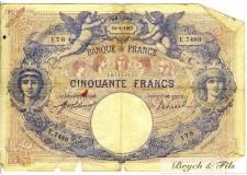 FRANCE 50 FRANCS type 1889 Bleu et Rose 14/06/1917 TB