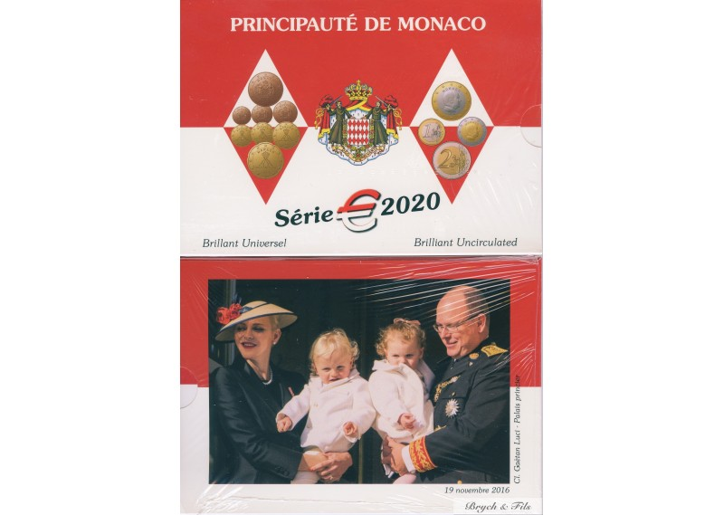 2020 MONACO BU OFFICIEL 8 PIECES DU 2 EUROS au 1 CT COFFRET SOUS BLISTER