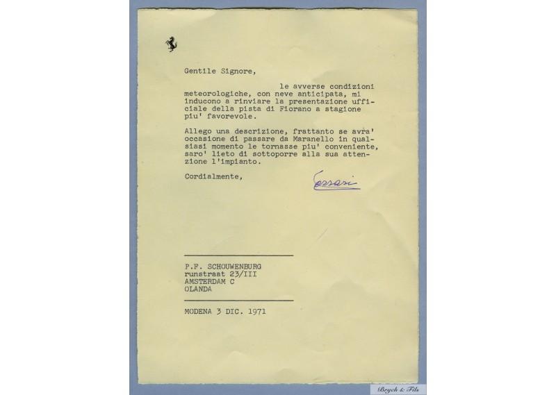 Lettre signé par Ferrari