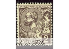 1891-94 MONACO N°12 TIMBRE POSTE PRINCE ALBERT I xx