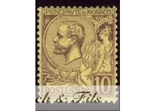 1891-94 MONACO N°14 TIMBRE POSTE PRINCE ALBERT I xx