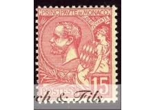 1891-94 MONACO N°15 TIMBRE POSTE PRINCE ALBERT I xx