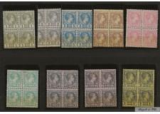 1885 MONACO N°1 AU 9 TIMBRES POSTE PRINCE CHARLES III EN BLOC DE 4