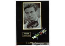 Autographe Photo Dédicacée Jim Clark avec Formule 1 Lotus 42