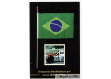 Autographe Drapeau Brésil Dédicacée Ayrton Senna F1 McLaren en 1993