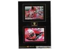 2 Autographes Photos Dédicacées Michael Schumacher dans sa F1 Ferrari