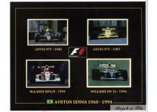 4 Autographes Photos Dédicacées Ayrton Senna F1 Lotus, McLaren, Williams