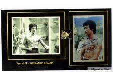 2 Autographes Photos Dédicacées Bruce Lee lors du Film Opération Dragon
