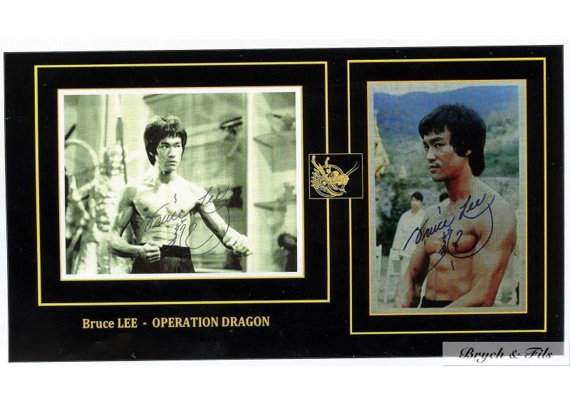 Bruce Lee 2 Signed Photo Autographe Movie Operation Dragon