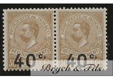 1919 Monaco Taxe N°12b Variété Chiffre espacé se Tenant A Normal x