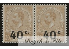 "1919 Monaco Taxe N°12a Variété Sans Point Après ""C"" se Tenant A Normal x"