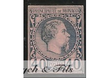 1885 MONACO N°7 TIMBRE POSTE NON DENTELE SUR BRISTOL PRINCE CHARLES III x