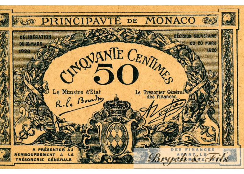 Billet Monaco 50 ct 1920 uniface Spl